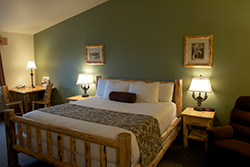 Large, well appointed rooms with beautiflly creafted lodge-pole pine furniture